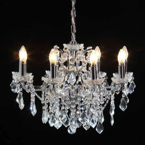 Antique French Cut Glass Chrome Chandelier 8 arm